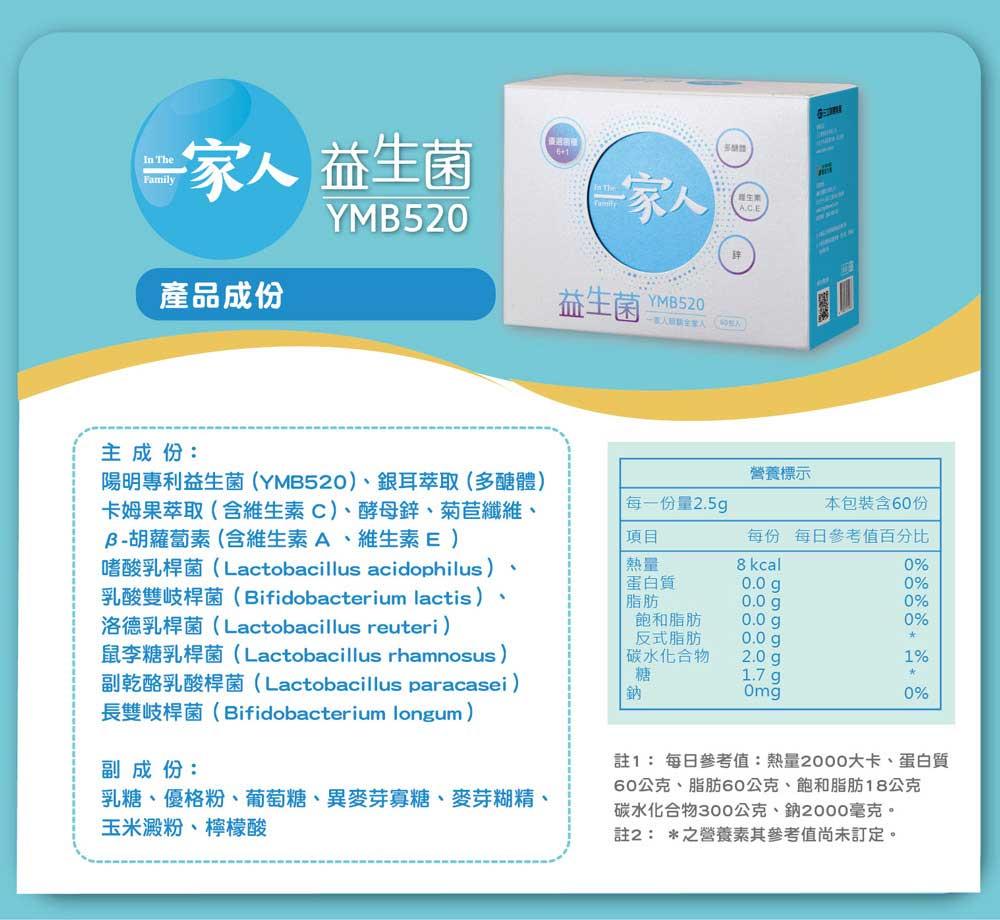一家人益生菌YMB520 產品成份